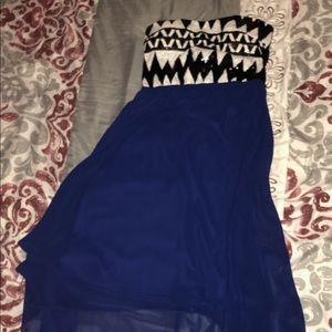 Dark blue and black high low strapless dress